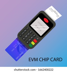 Payment by using Credit card with EMV chip card. Credit card swipe machine. Flat illustration.