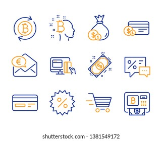 Payment, Cash and Delivery shopping icons simple set. Online payment, Refresh bitcoin and Euro money signs. Discount, Bitcoin think and Credit card symbols. Discounts. Line payment icon. Colorful set