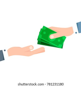 Payment in cash. Funding, bribe, donation, payday concepts. Dollars in hand. Vector flat illustration