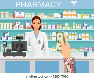 Payment in cash. Interior pharmacy or drugstore with female pharmacist at the counter. Medicine pills capsules bottles vitamins and tablets. vector illustration in flat style