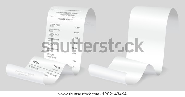 Payment check isometric 3d. Buying financial invoice bill purchasing calculate pay vector isolated. Receipt the seller forms at the online checkout for transfer to the buyer or client, paper piece