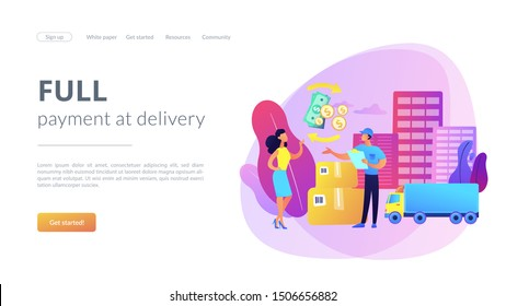 Payment collection, parcel return. Express transportation business. Cash on delivery COD, collect on delivery, full payment at delivery concept. Website homepage landing web page template.