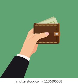 Payment concept. Hand holding wallet with dollars bills isolated. Cartoon vector cartoon illustration for business web design. Closed purse with money.