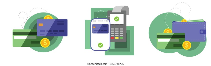 Payment concept isolated vector illustration. POS terminal confirm, NFC payment, money transferring via smartphone app, online banking and shopping, e-commerce
