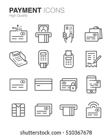 Payment and Credit card line icons set. Included the icons as credit card, debit card, cashless, counter, machine, receipt and more.
