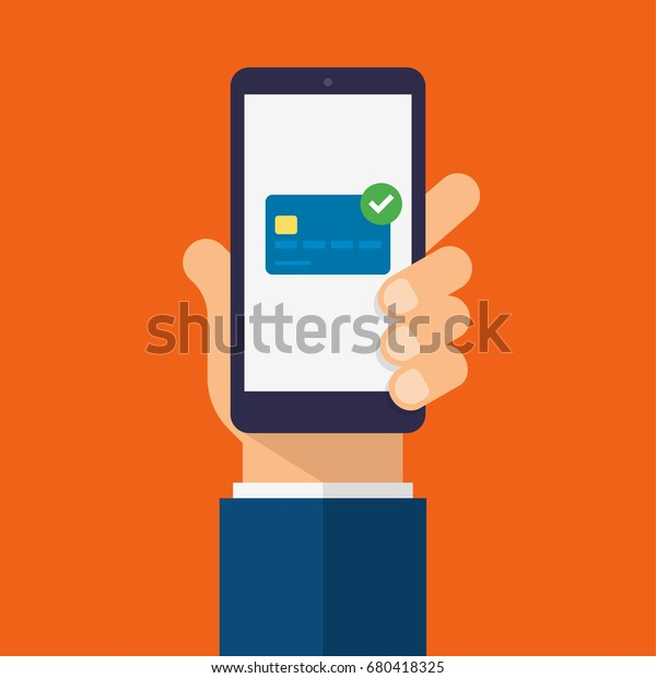 Payment and credit card on smartphone screen. Hand holds the smartphone. Modern Flat design illustration.