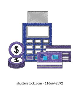 payment dataphone bank cards and dollar coins