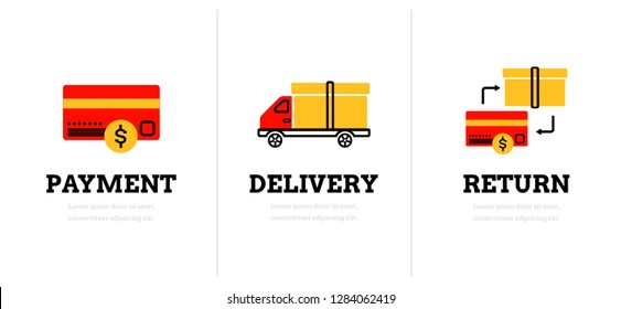 Payment. Delivery. Return. Web page template. Modern flat design concept with icons. Online shop.