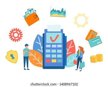 Payment electronic terminal GPRS, vector illustration concept payment methods, characters, paying for purchases and attributes of the payment process