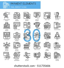 Payment Elements , Thin Line and Pixel Perfect Icons
