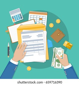 Payment of financial taxation. Invoice, tax,bill paying. Human hands with documents, forms, money, calendar, calculator, notepad, purse, credit card, coins, envelope. Vector illustration. Top view.