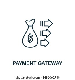 Payment Gateway outline icon. Thin line concept element from fintech technology icons collection. Creative Payment Gateway icon for mobile apps and web usage.