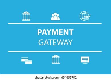payment gateway process icon set. Vector illustration