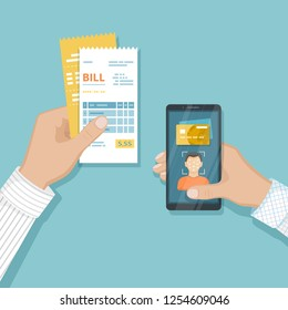 Payment for goods and services using Face Recognition And Identification, Face ID on smartphone. Online bill payment via phone. Mobile phone with Biometric identification, bills in hand Vector