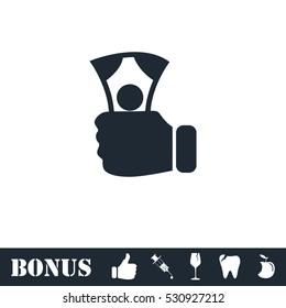 Payment icon flat. Vector illustration symbol and bonus pictogram