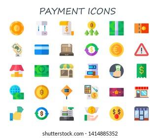 payment icon set. 30 flat payment icons.  Simple modern icons about  - coin, transfer, invoice, bitcoin, money, coupon, credit card, cashier, refund, euro, sign, shop, store, duplex