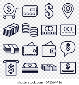 Payment icons set. set of 16 payment outline icons such as credit card, wallet, dollar, money, dollar location