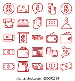 Payment icons set. set of 25 payment outline icons such as credit card, money, money on hand, dollar coin, wallet, cash payment, dollar, crown, dollar sign in cloud, atm