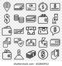 Payment icons set. set of 25 payment outline icons such as credit card, money, atm money withdraw, wallet, card, money, dollar, wallet, dollar location