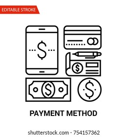 Payment Method Icon. Thin Line Vector Illustration. Adjust stroke weight - Expand to any Size - Easy Change Colour - Editable Stroke - Pixel Perfect