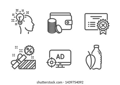 Payment method, Reject certificate and Sale icons simple set. Idea, Seo adblock and Water bottle signs. Wallet with coins, Decline file. Business set. Line payment method icon. Editable stroke. Vector