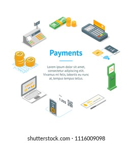 Payment Methods Banner Card Circle Isometric View Electronic Transfer, Cash, Credit Card or Check. Vector illustration