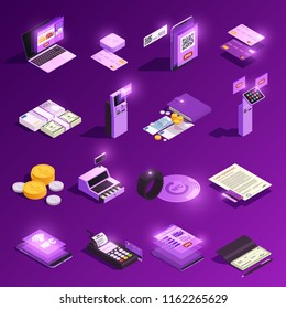 Payment methods cash and electronic money crypto currency glowing isometric icons isolated on purple background vector illustration