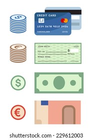 Payment methods, credit card, dollar and euro banknotes and coins