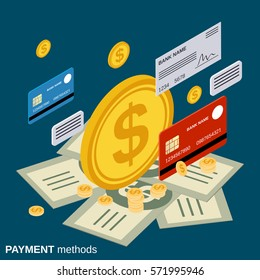 Payment methods flat isometric vector concept illustration
