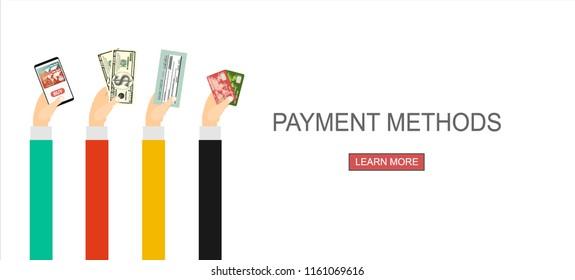Payment Methods. Flat Vector Illustration