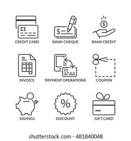 payment methods icons set, thin line, black color