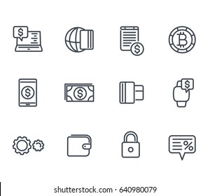 Payment methods and internet banking icons set in linear style
