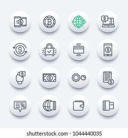 Payment methods, internet banking, worldwide online money transfer service line icons set