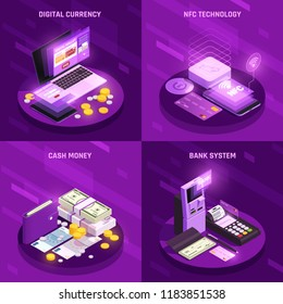 Payment methods isometric design concept with digital currency cash money bank system nfc technology isolated vector illustration