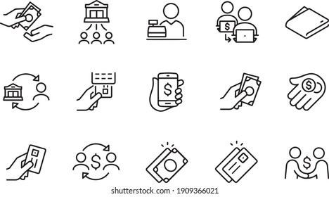 Payment Methods Thin Line Icons vector design