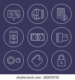 Payment methods, types line icons in circles, vector illustration, eps10, easy to edit