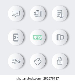 Payment methods, types line round modern icons, vector illustration, eps10, easy to edit
