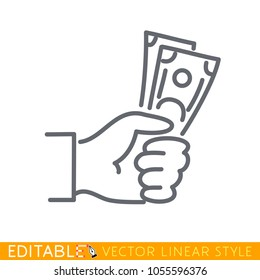 Payment with money, buying or purchase or bribe. Editable line sketch icon. Stock vector illustration.