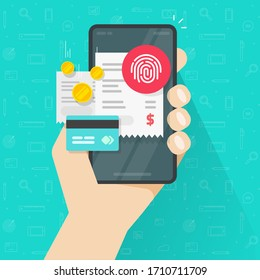 Payment online bills via credit bank card and touch fingerprint id on mobile phone or electronic digital paying concept on smartphone via thumbprint vector flat, cellphone transaction invoice receipt