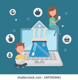 Payment online icon set design