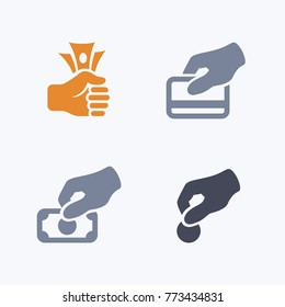 Payment Options - Carbon Icons. A set of 4 professional, pixel-aligned icons.