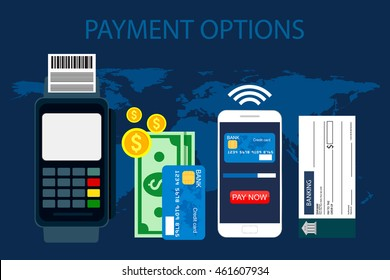 Payment options. Concept in flat style, vector Illustration.