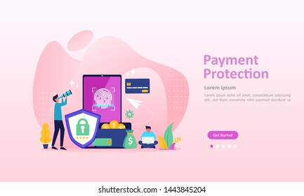 Payment Protection concept, guaranteed finance security, saving money information, Suitable for web landing page, ui, mobile app, banner template. Vector Illustration