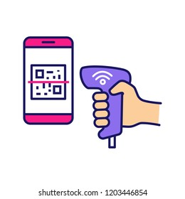 Payment QR with code scanner scanning phone screen color icon. Wifi 2D barcode reader. Wireless QR code barcode scanning. Handheld matrix barcodes scanner. Isolated vector illustration