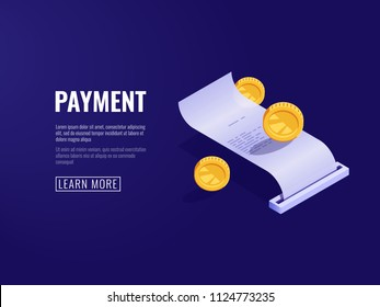 Payment receipt, payroll, electronic bill, online buying concept isometric vector illustration