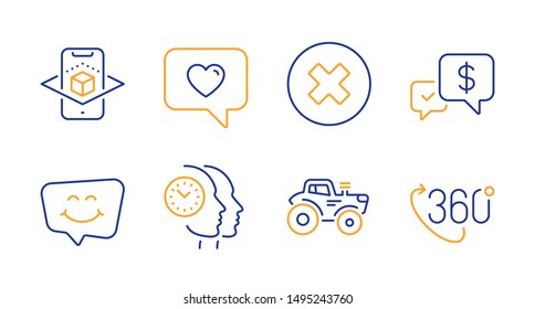 Payment received, Close button and Smile chat line icons set. Love message, Augmented reality and Time management signs. Tractor, 360 degree symbols. Money, Delete or decline. Technology set. Vector