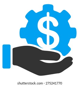 Payment service icon. This isolated flat symbol uses modern corporation light blue and gray colors.