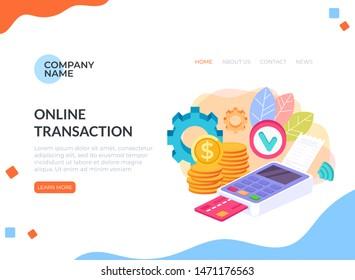 Payment system money transaction banner poster concept. Vector flat cartoon graphic design illustration