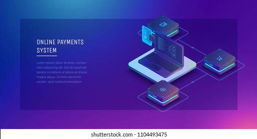 Payment system online. Digital financial service. Laptop with a bank card, money orders and financial transactions. Vector illustration isometric style.