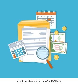 Payment of tax and accounts concept. Financial calendar, money, cash, gold coins, calculator, magnifying glass invoices, bills. Payday icon. Vector illustration
